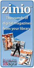 Zinio: Thousands of digital magazines from your library (logo with Rolling Stone, Esquire, and Macworld magazine covers)